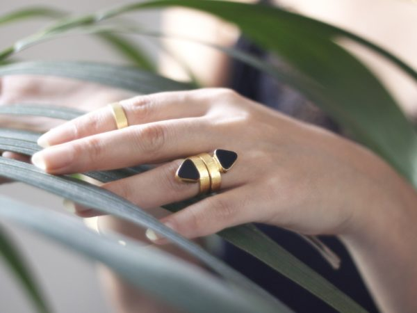 Triangle Onyx Ring