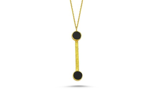 Round Onyx Two Settings Necklace